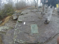 1st white blaze for Northbound thru-hikers sits atop Springer Mountain