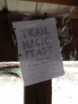 Trail Magic Feast sign!