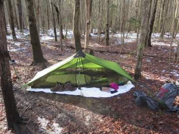 My tent at Hawk Mountain Shelter