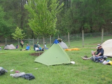 Tenting at Four Pines Hostel