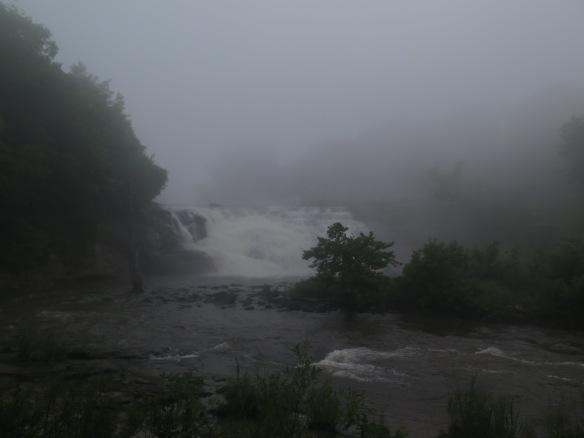 Overcast waterfall