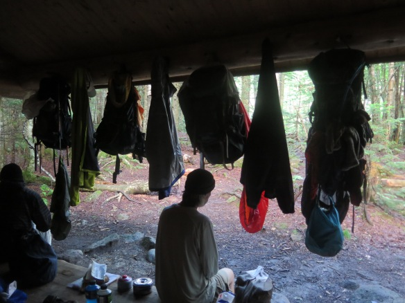 Wet hikers drying out at Eliza Brook Shelter