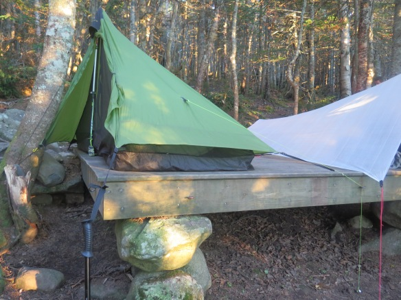 Sleeping on a tent platform